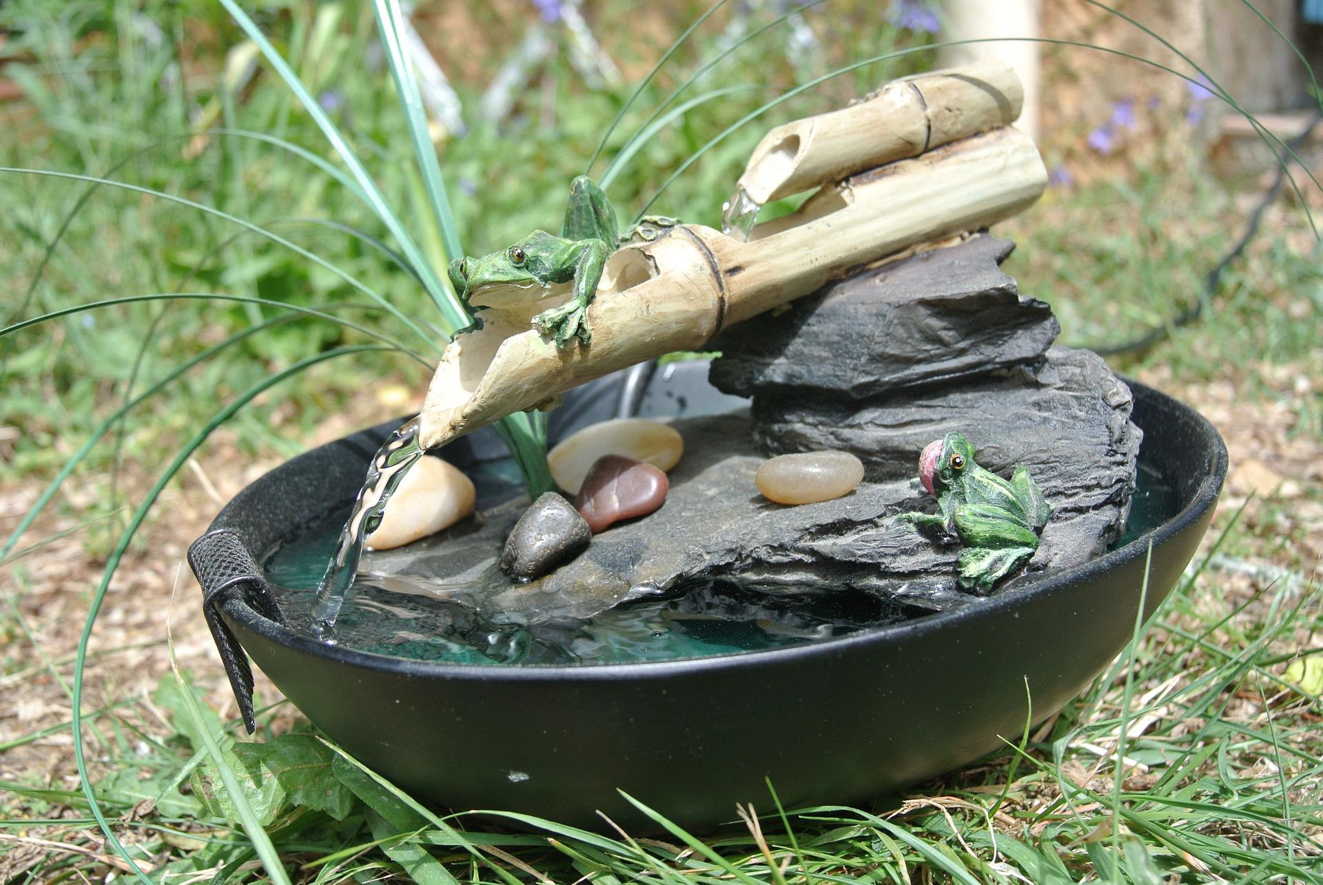 fontaine décorative en bambou zen